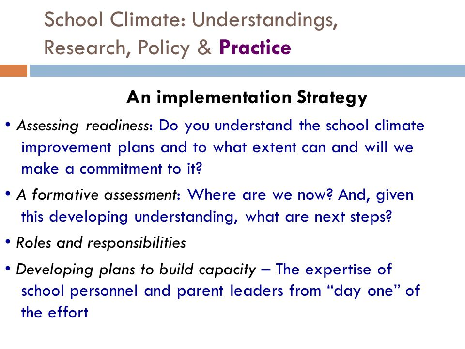 School Climate: Understandings, Research, Policy & Practice