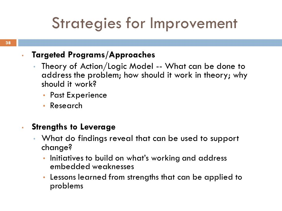 Strategies for Improvement