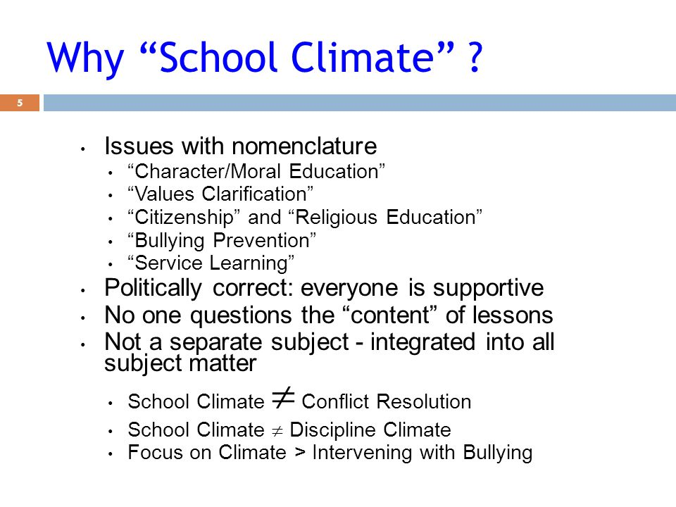 Why School Climate Issues with nomenclature