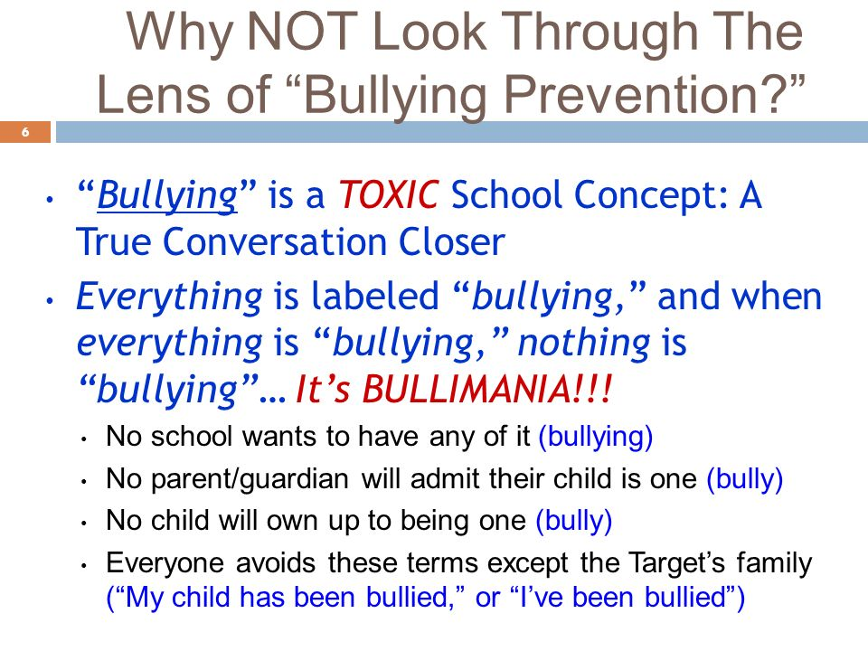 Why NOT Look Through The Lens of Bullying Prevention