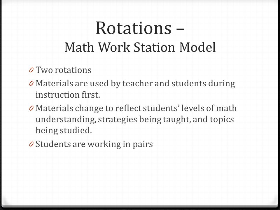 Rotations – Math Work Station Model