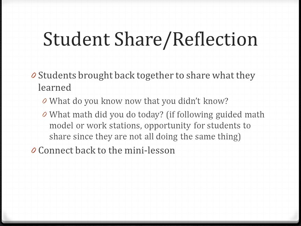 Student Share/Reflection