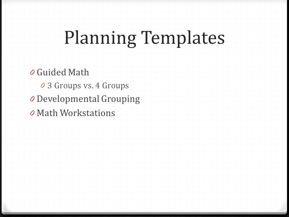 Planning Templates Guided Math Developmental Grouping