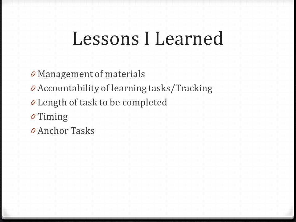 Lessons I Learned Management of materials
