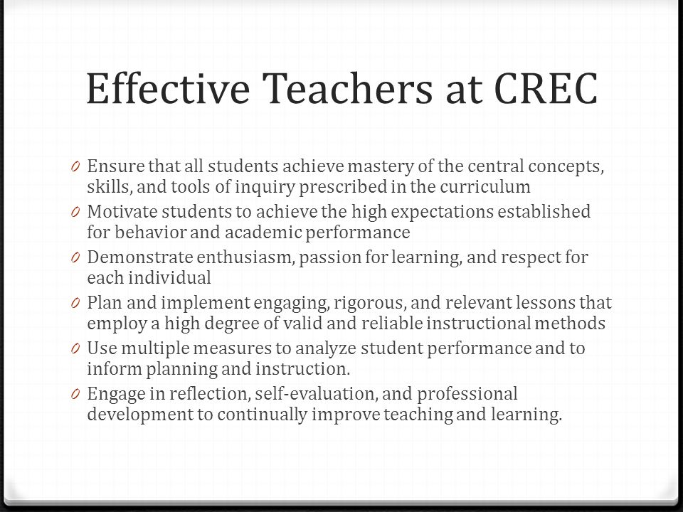 Effective Teachers at CREC