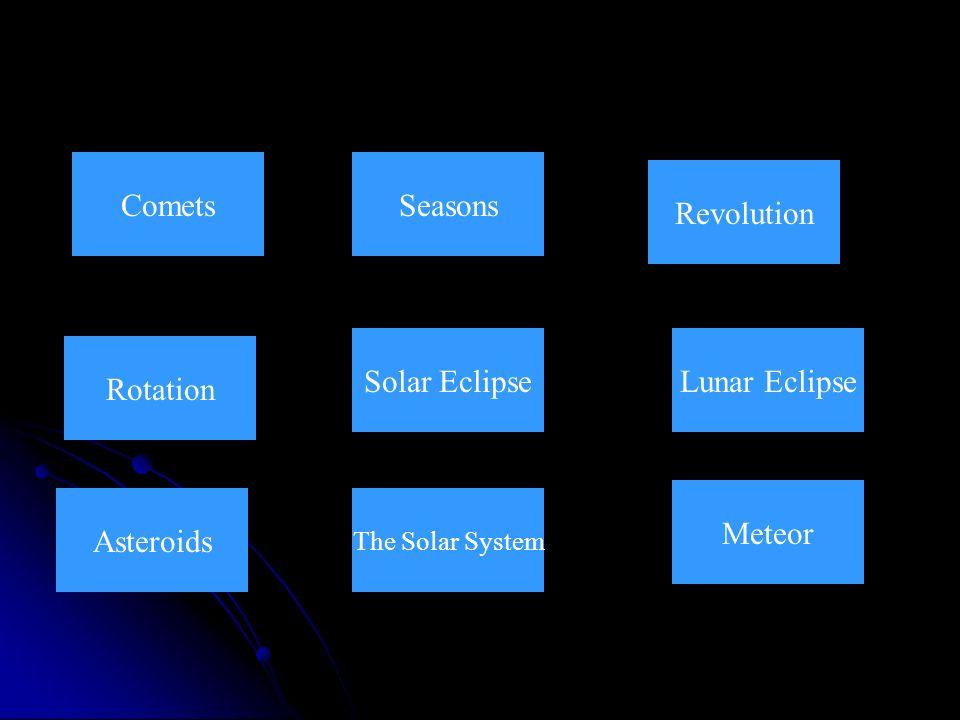 Comets Seasons Revolution Solar Eclipse Lunar Eclipse Rotation Meteor