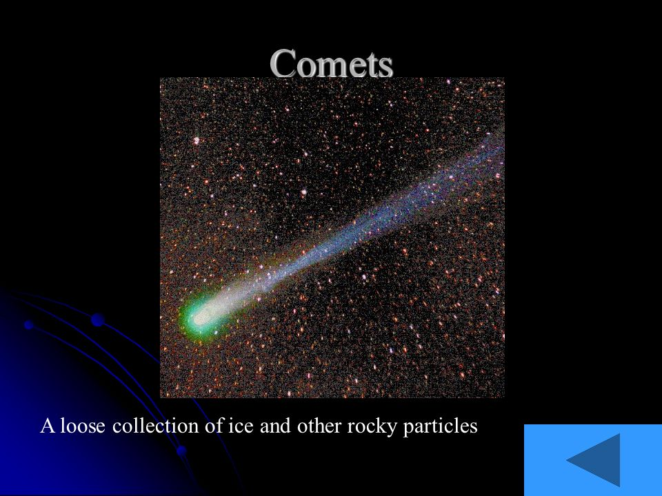 Comets A loose collection of ice and other rocky particles