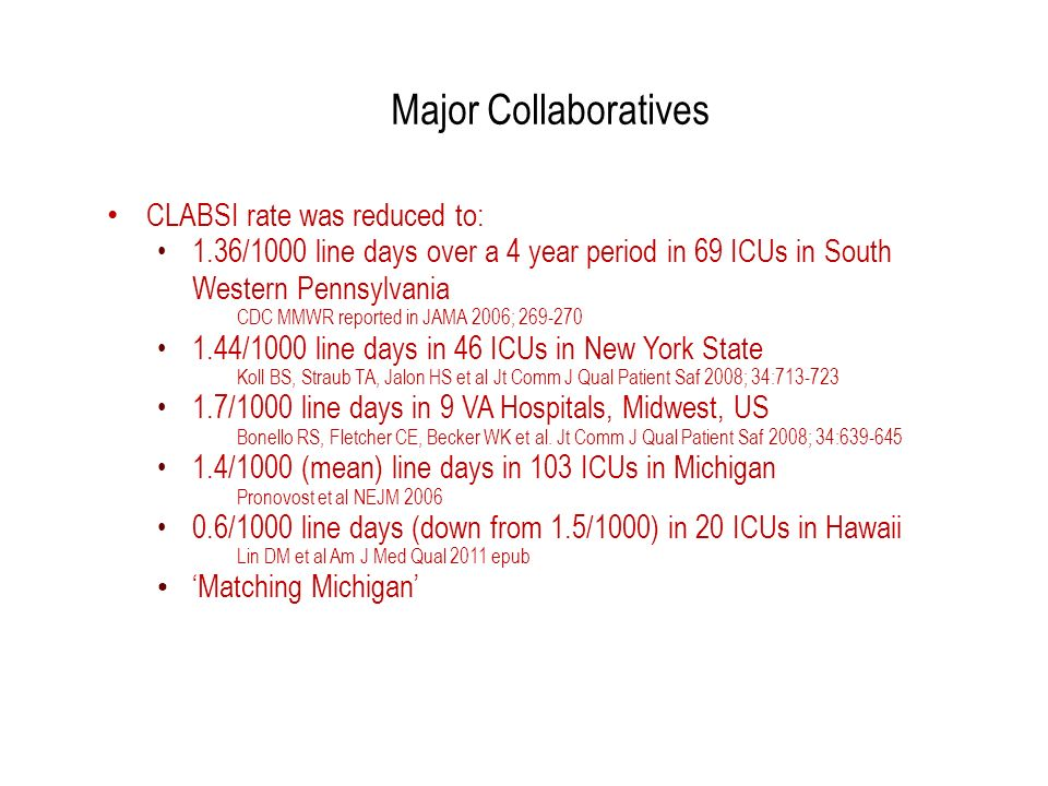 Major Collaboratives CLABSI rate was reduced to: