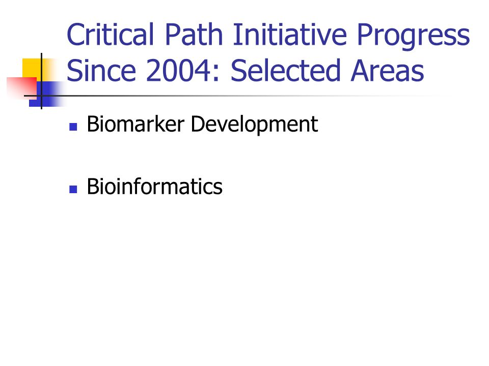 Critical Path Initiative Progress Since 2004: Selected Areas