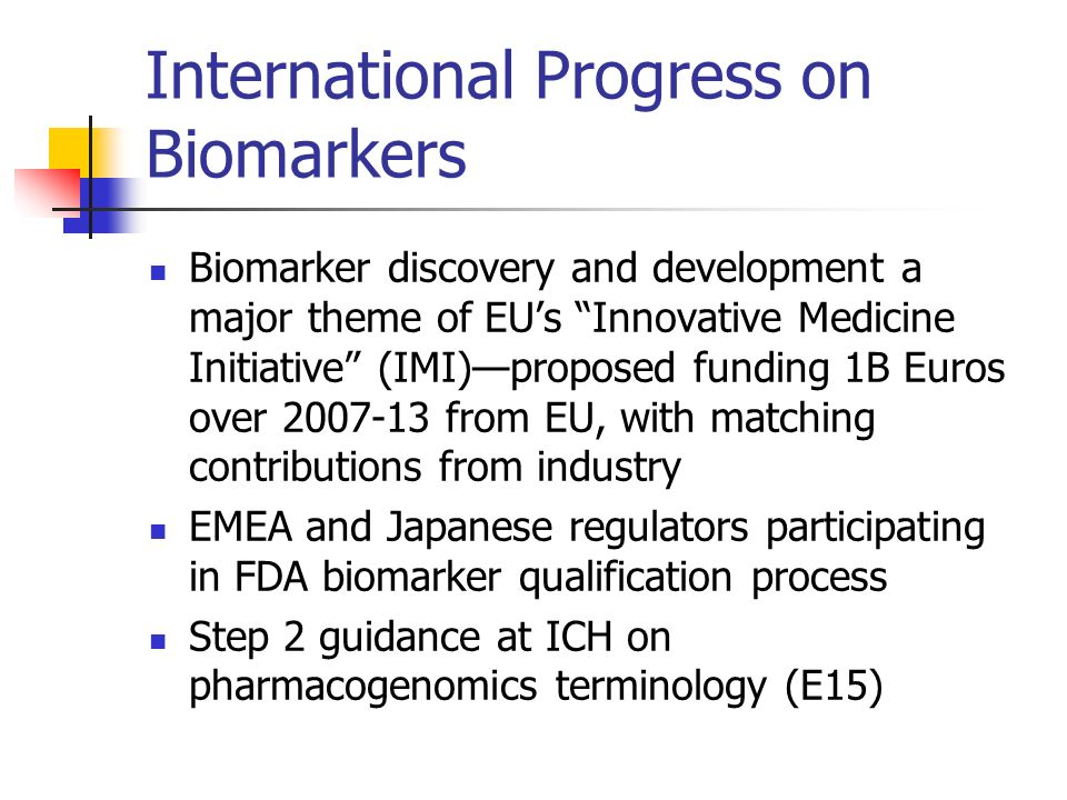 International Progress on Biomarkers