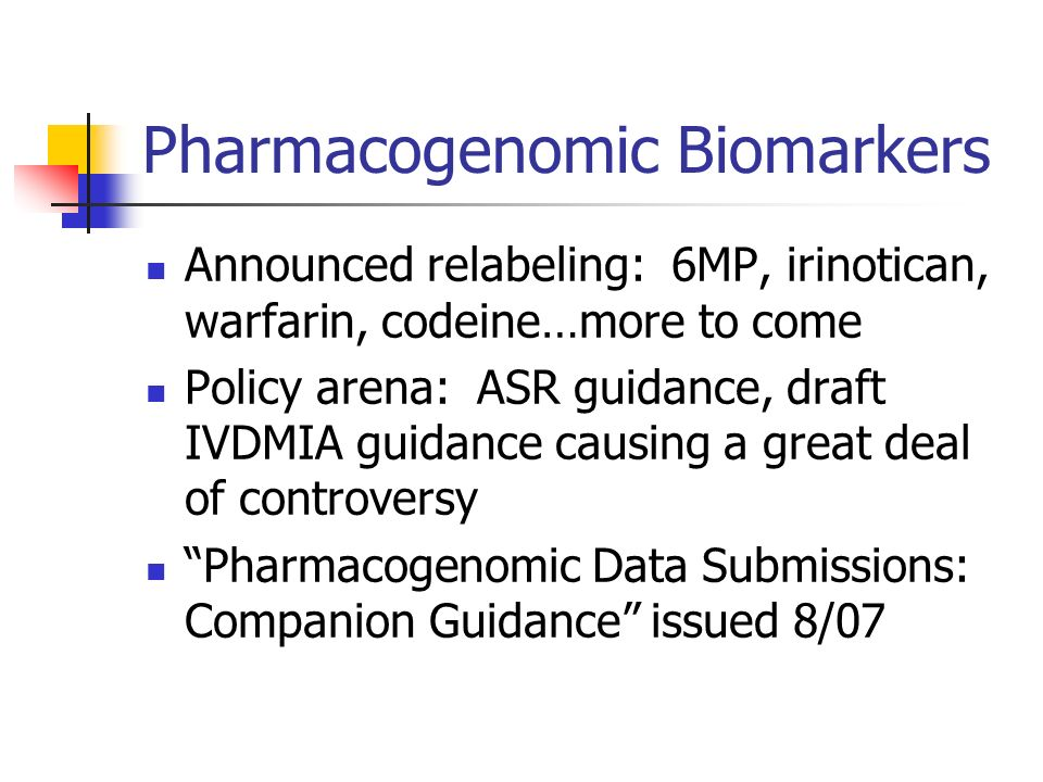 Pharmacogenomic Biomarkers