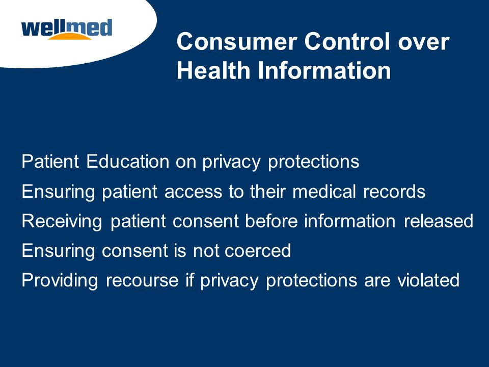 Consumer Control over Health Information