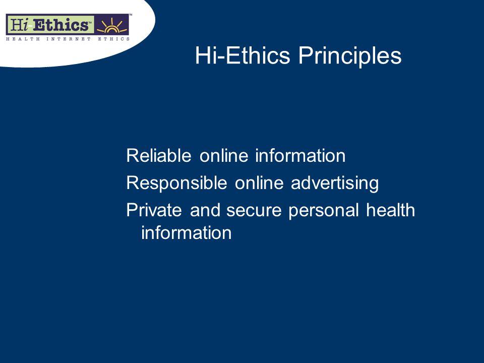 Hi-Ethics Principles Reliable online information