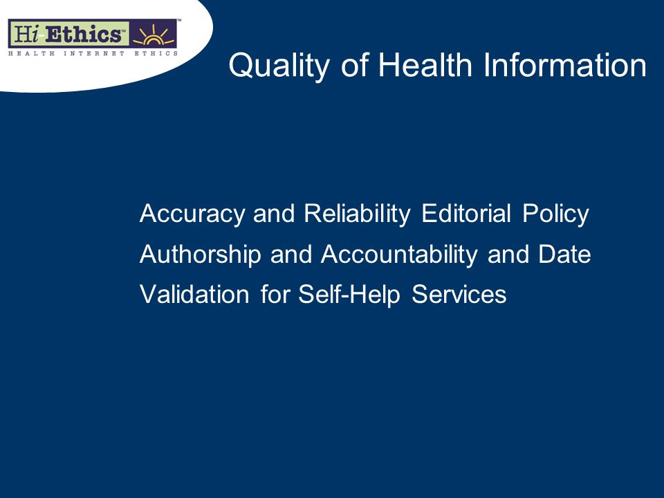 Quality of Health Information
