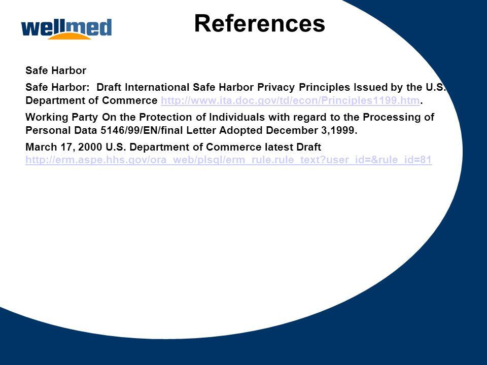 References Safe Harbor