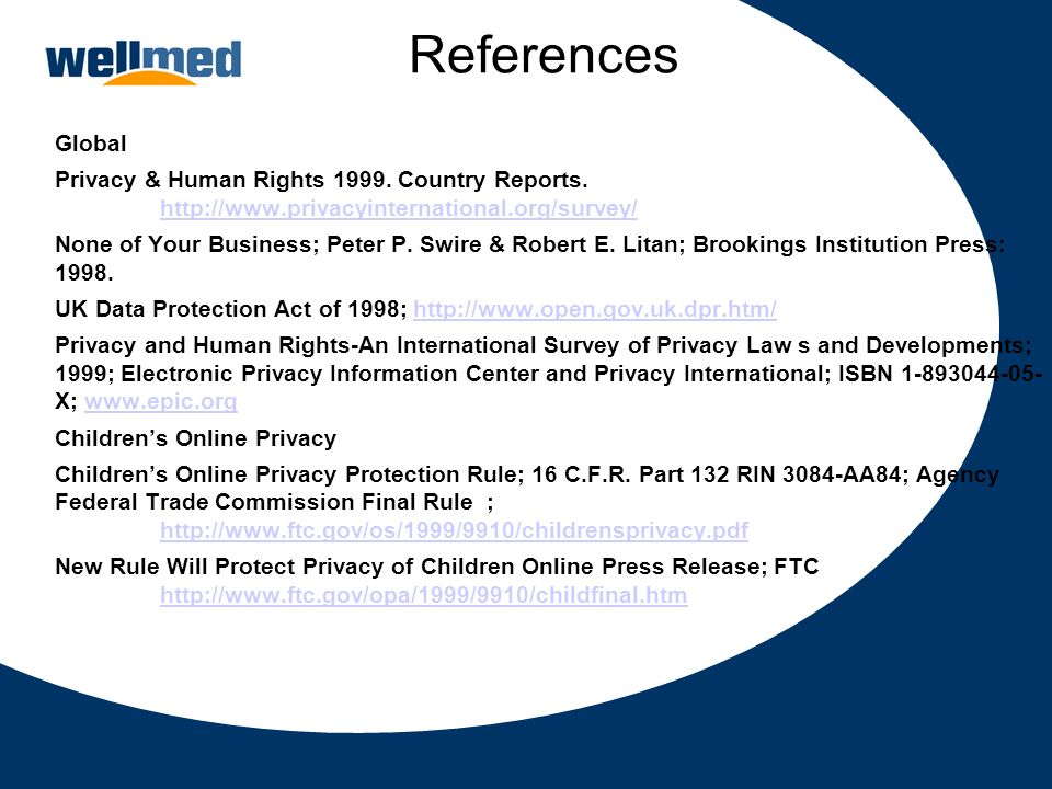 References Global. Privacy & Human Rights 1999. Country Reports. http://www.privacyinternational.org/survey/