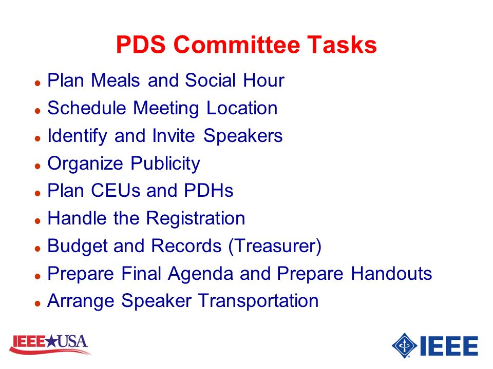 PDS Committee Tasks Plan Meals and Social Hour