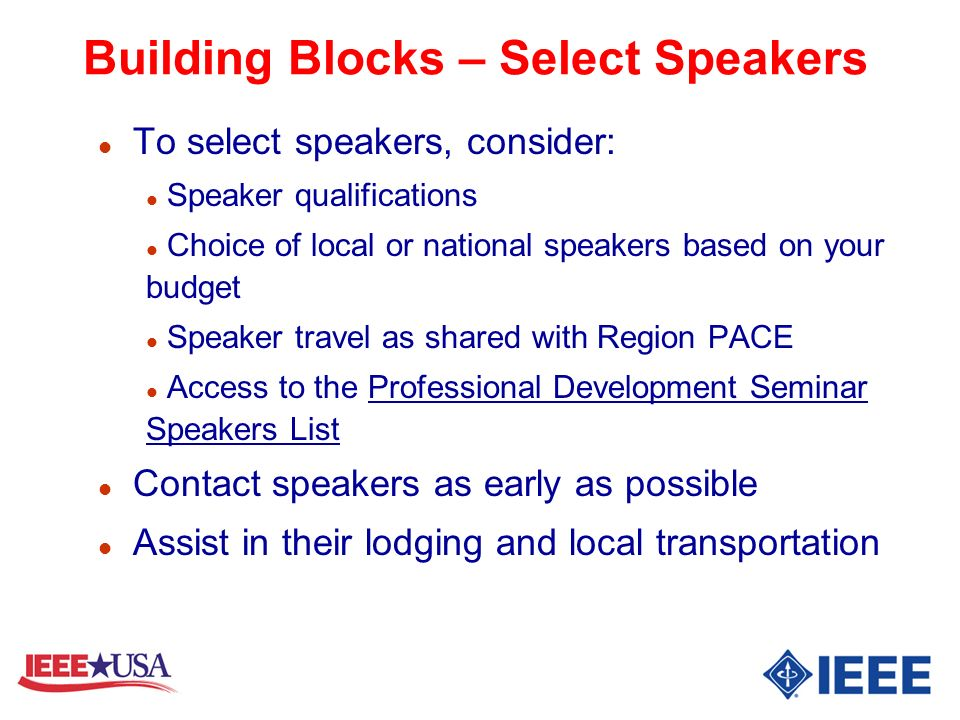 Building Blocks – Select Speakers