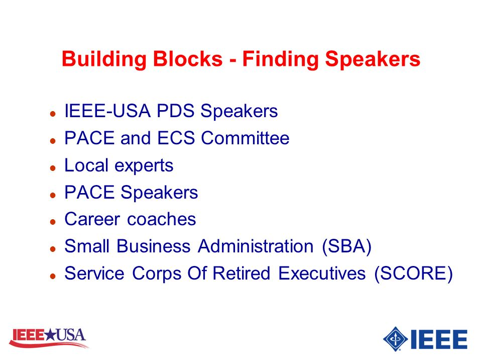 Building Blocks - Finding Speakers
