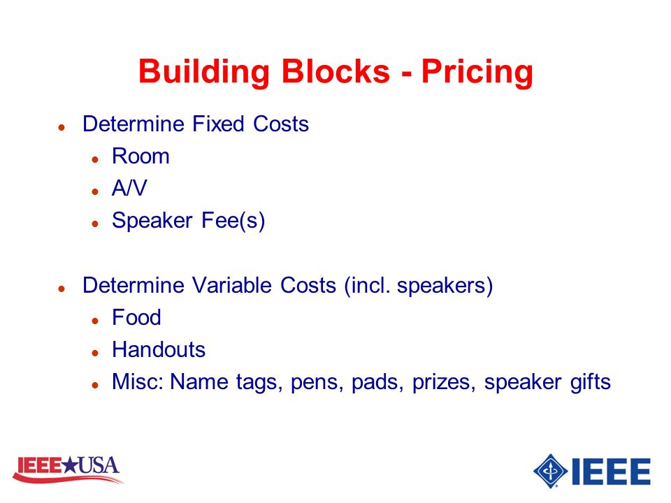 Building Blocks - Pricing