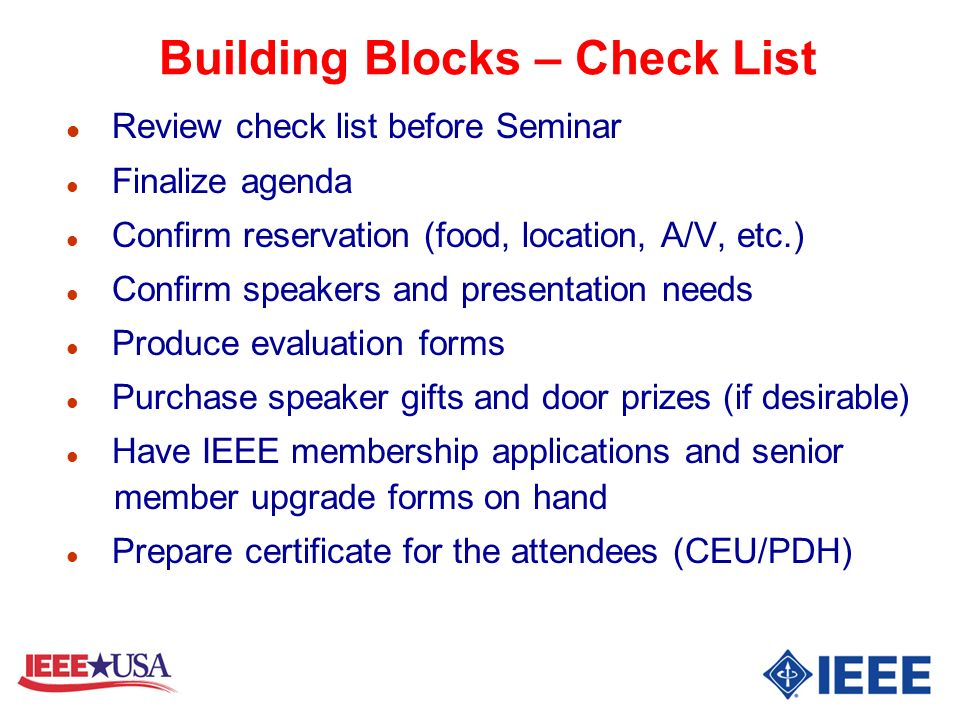 Building Blocks – Check List