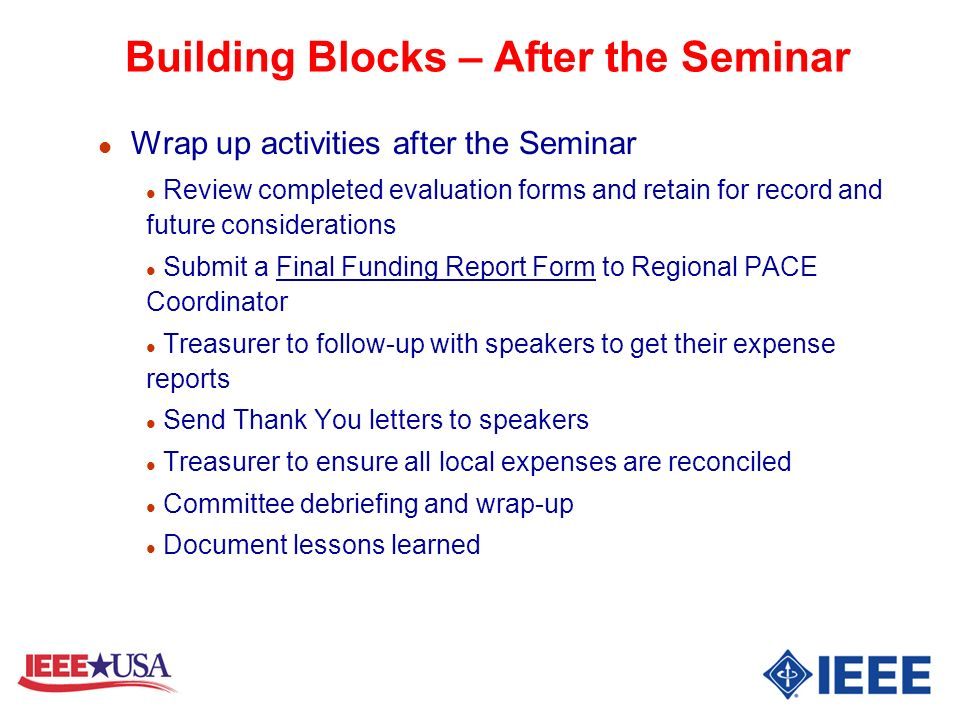 Building Blocks – After the Seminar