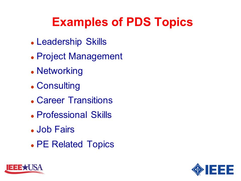 Examples of PDS Topics Leadership Skills Project Management Networking