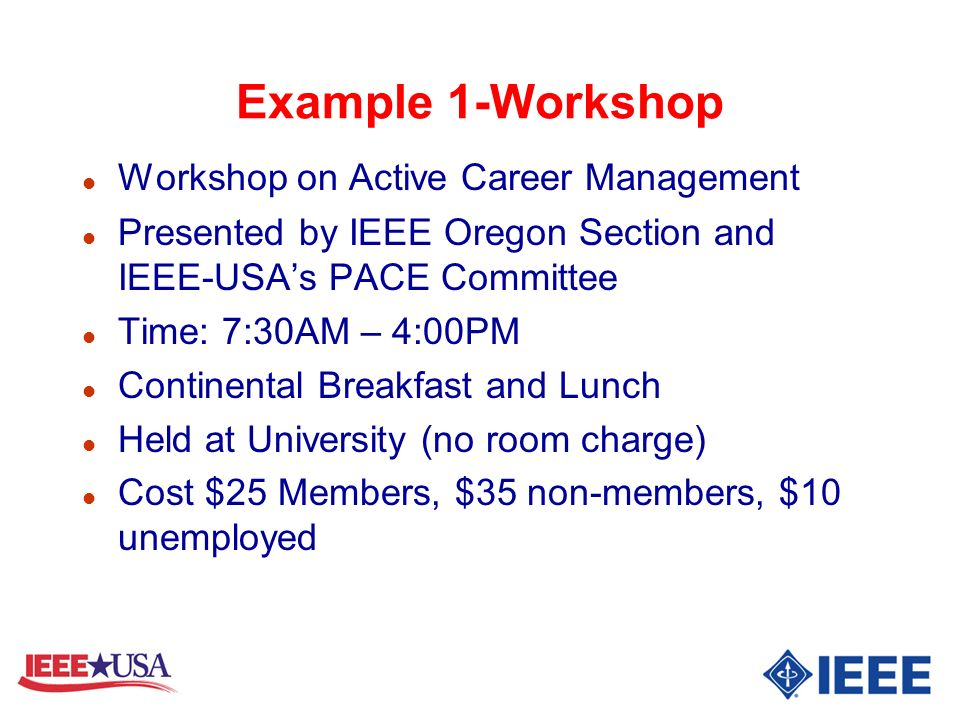 Example 1-Workshop Workshop on Active Career Management