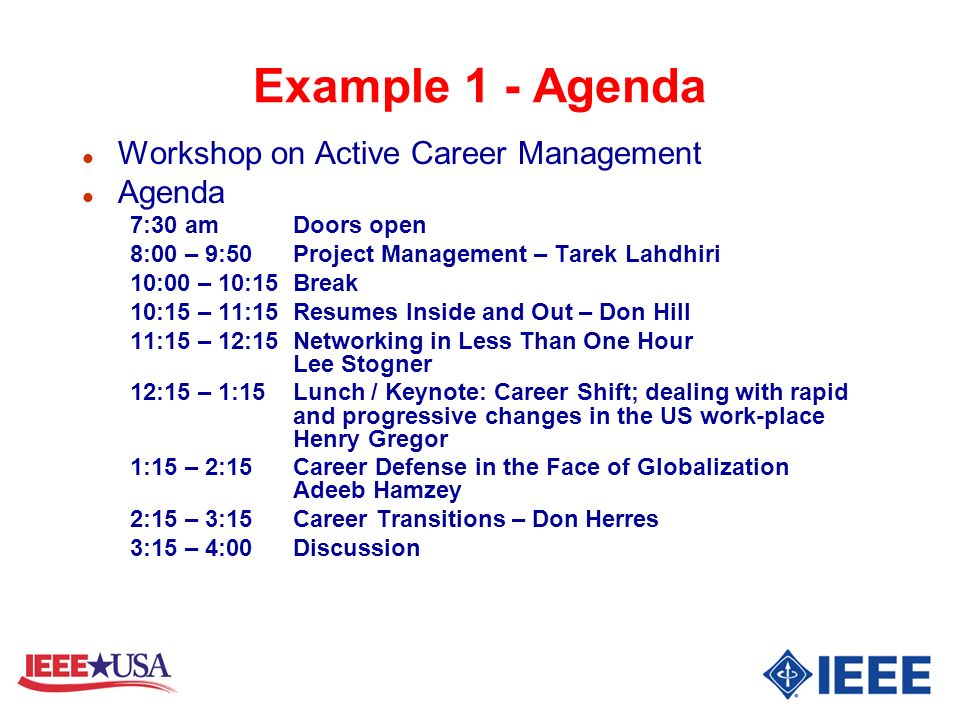 Example 1 - Agenda Workshop on Active Career Management Agenda