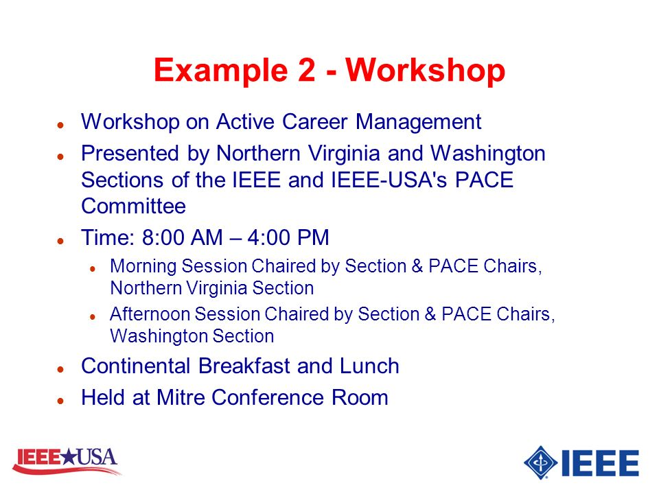 Example 2 - Workshop Workshop on Active Career Management