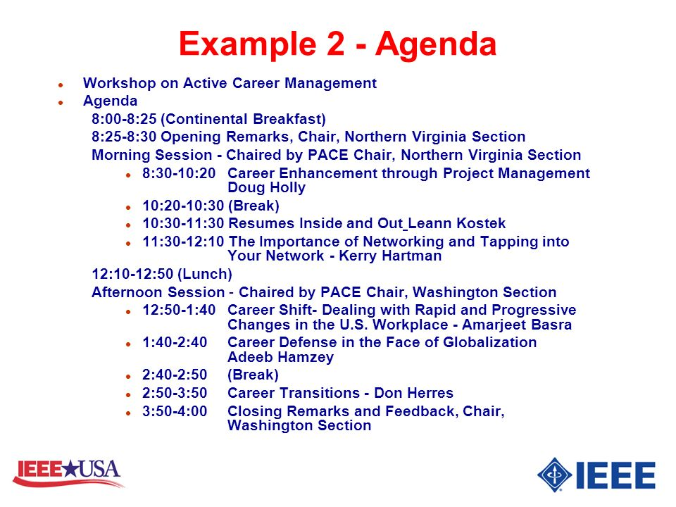 Example 2 - Agenda Workshop on Active Career Management Agenda