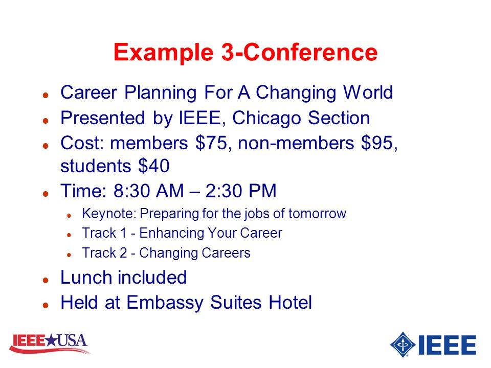 Example 3-Conference Career Planning For A Changing World
