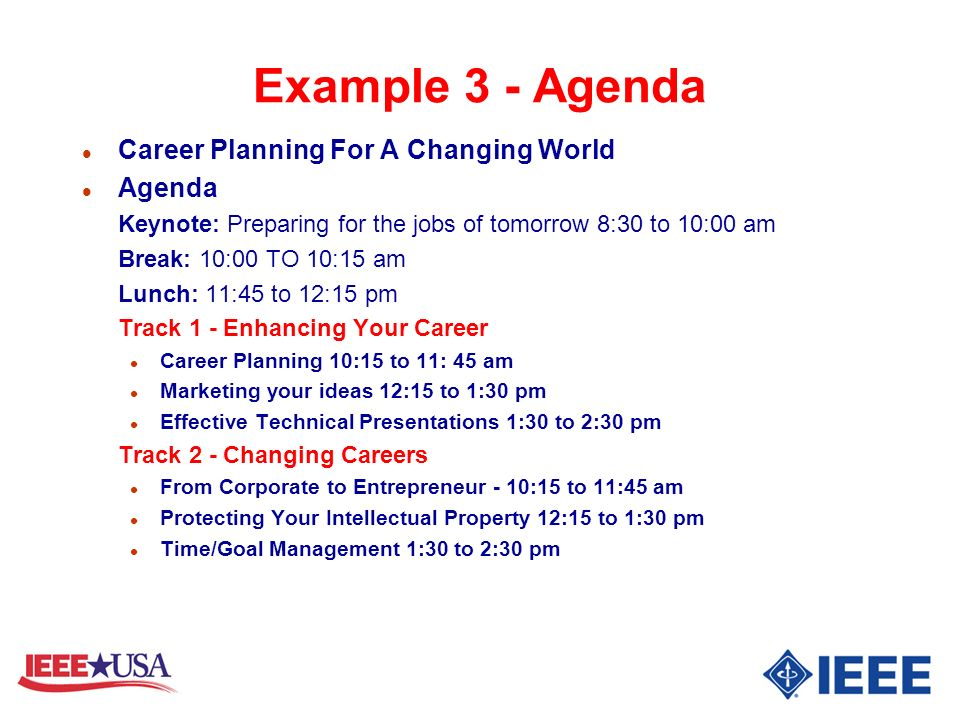Example 3 - Agenda Career Planning For A Changing World Agenda