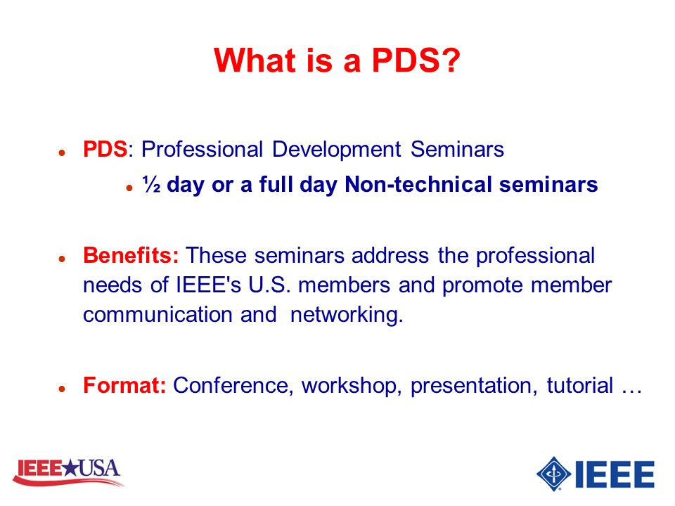 What is a PDS PDS: Professional Development Seminars