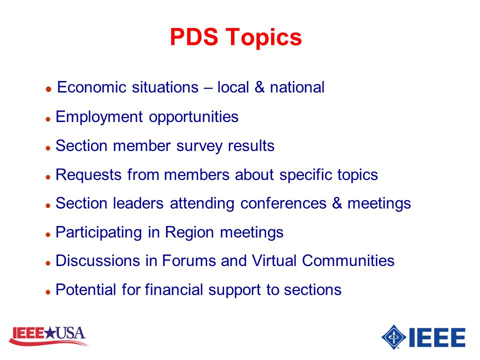 PDS Topics Economic situations – local & national