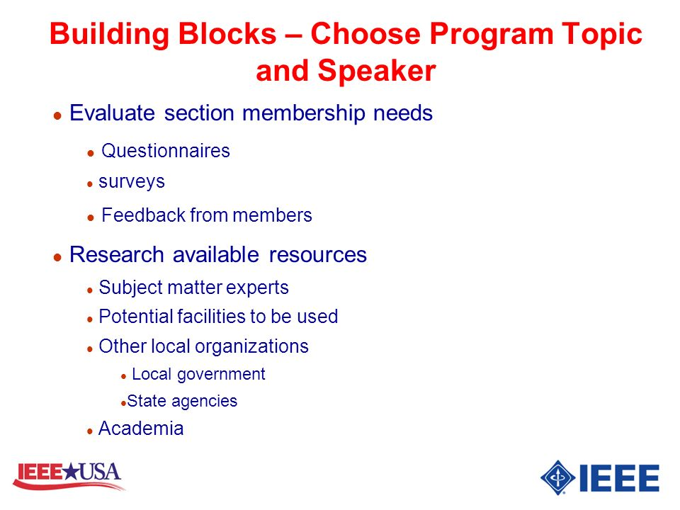 Building Blocks – Choose Program Topic and Speaker