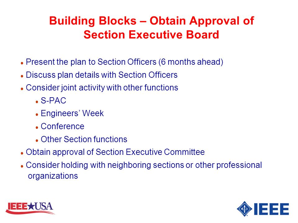 Building Blocks – Obtain Approval of Section Executive Board