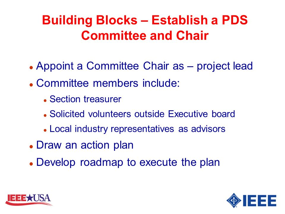 Building Blocks – Establish a PDS Committee and Chair