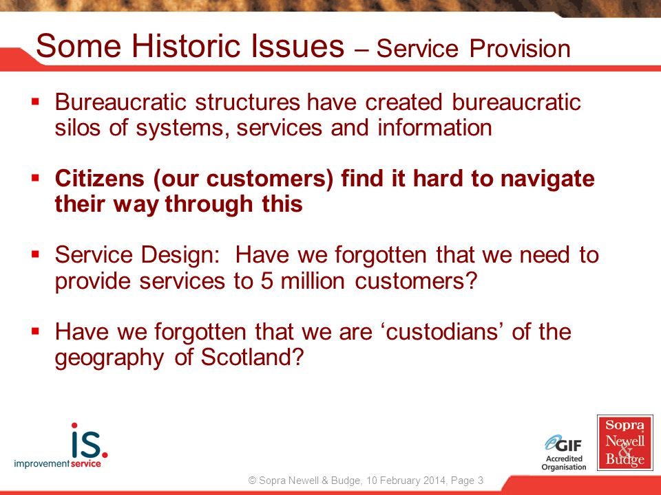 Some Historic Issues – Service Provision