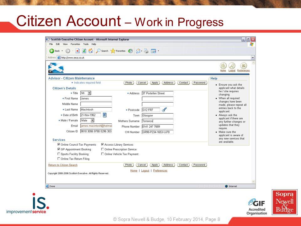 Citizen Account – Work in Progress