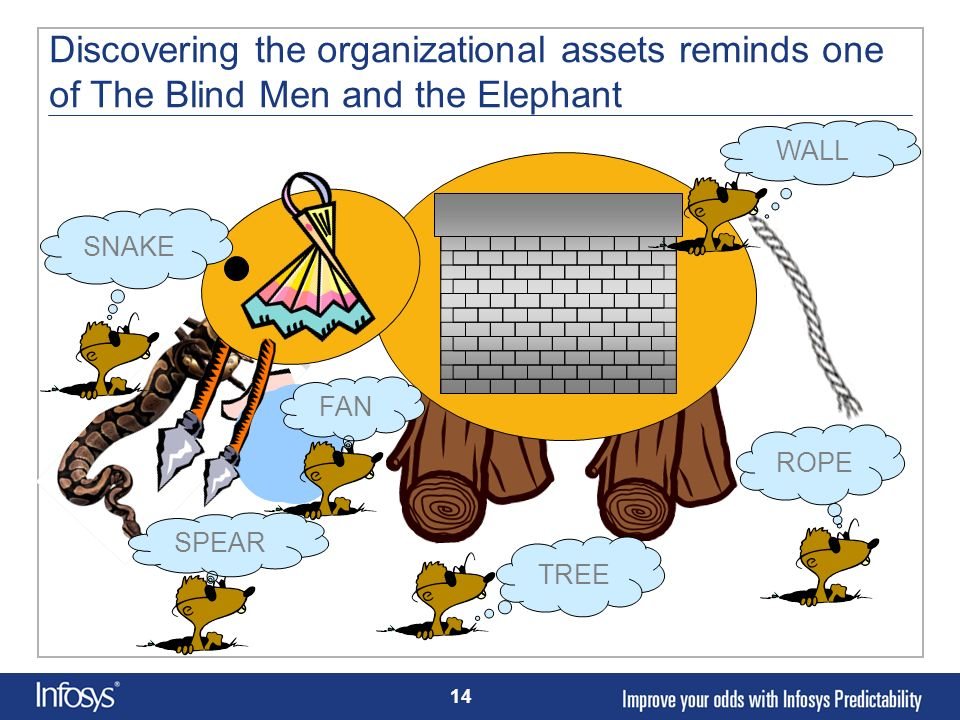Discovering the organizational assets reminds one of The Blind Men and the Elephant