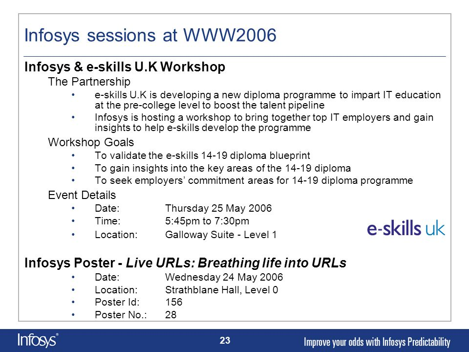 Infosys sessions at WWW2006