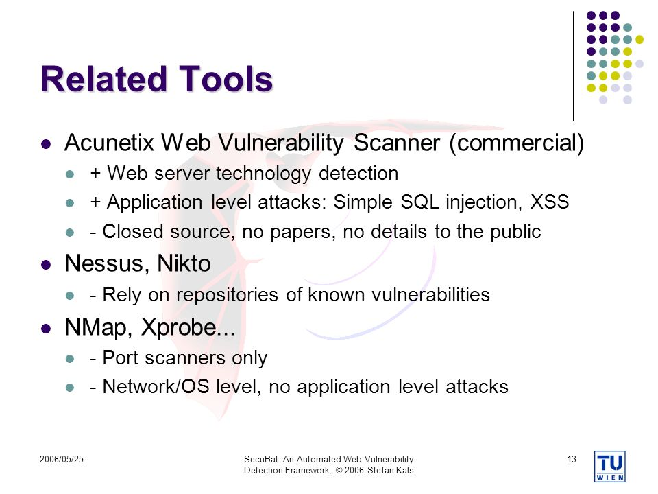 Related Tools Acunetix Web Vulnerability Scanner (commercial)