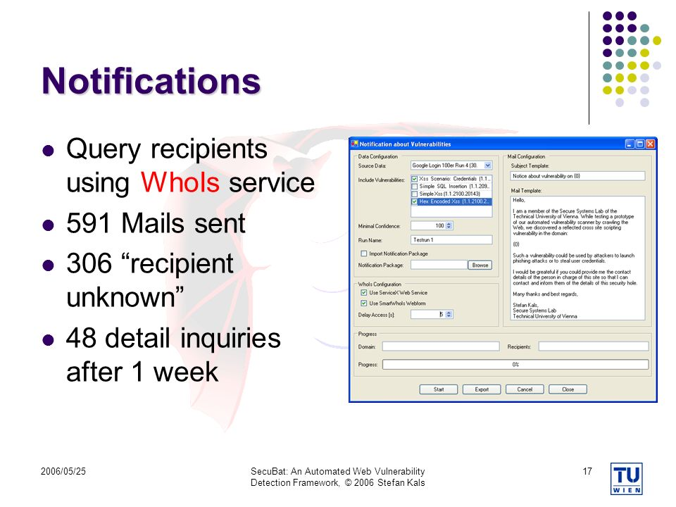 Notifications Query recipients using WhoIs service 591 Mails sent