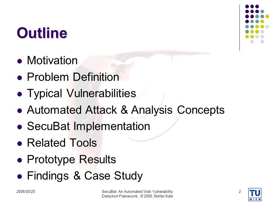 Outline Motivation Problem Definition Typical Vulnerabilities