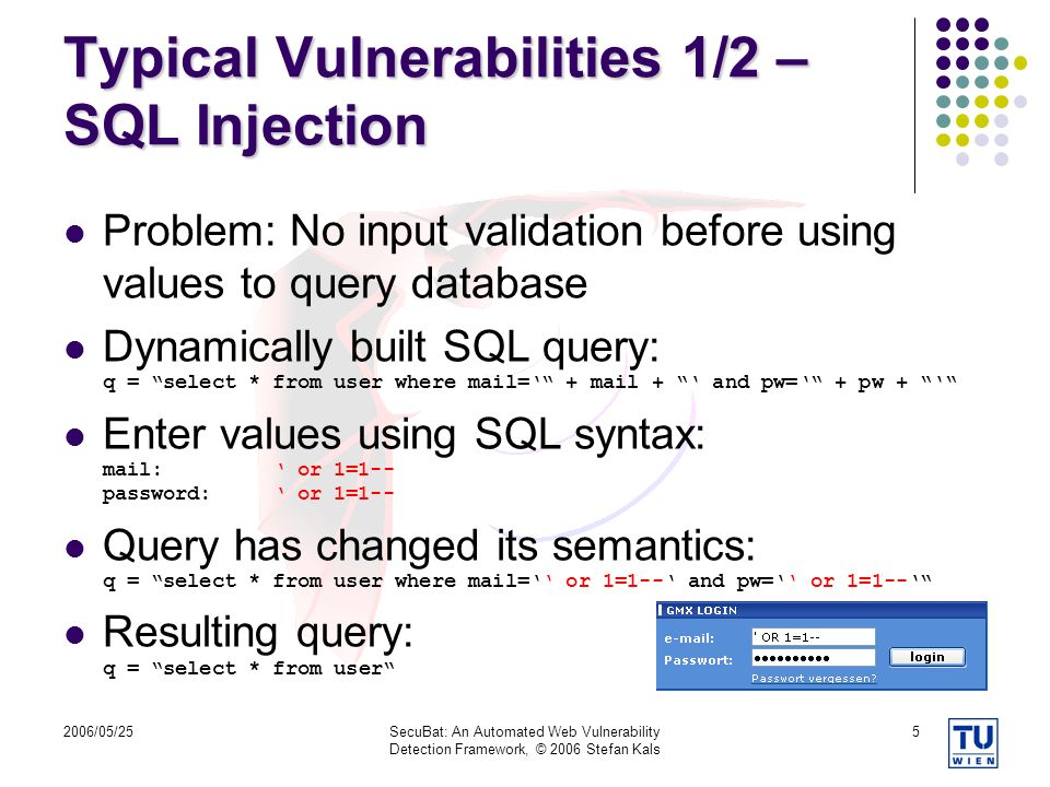 Typical Vulnerabilities 1/2 – SQL Injection