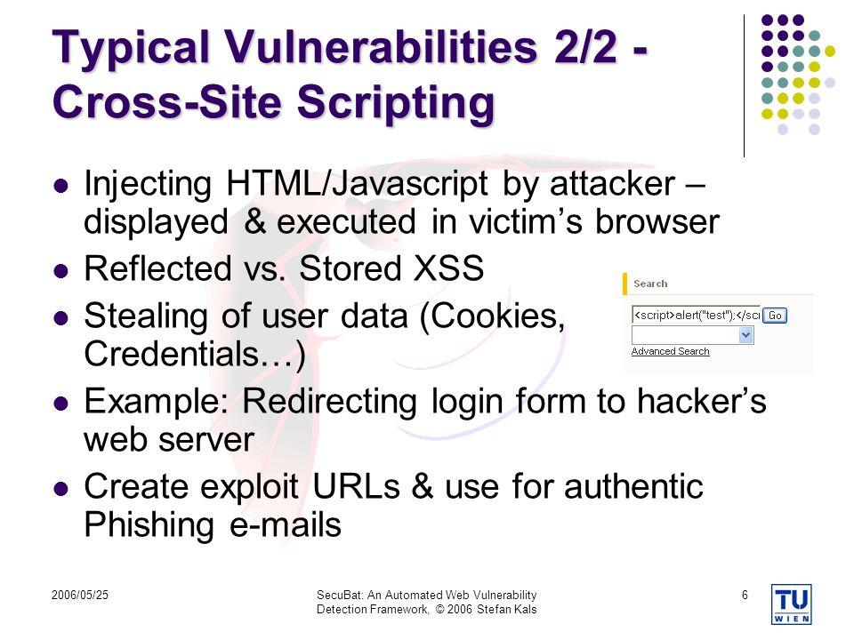 Typical Vulnerabilities 2/2 - Cross-Site Scripting
