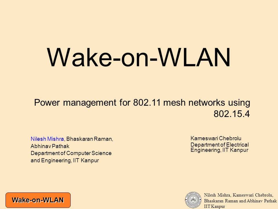 Wake-on-WLAN Power management for 802.11 mesh networks using 802.15.4