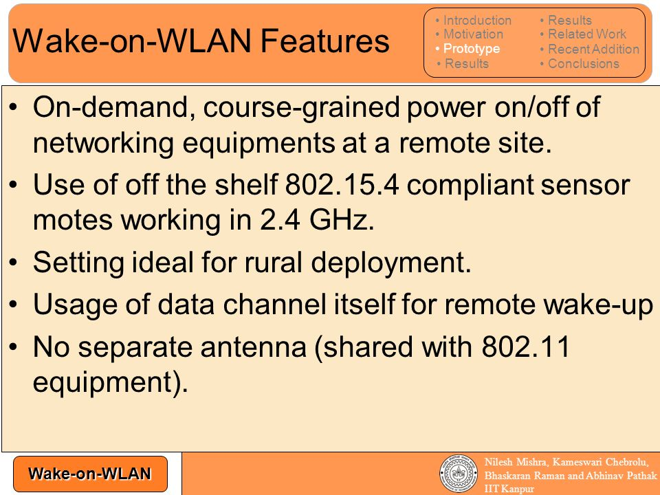 Wake-on-WLAN Features