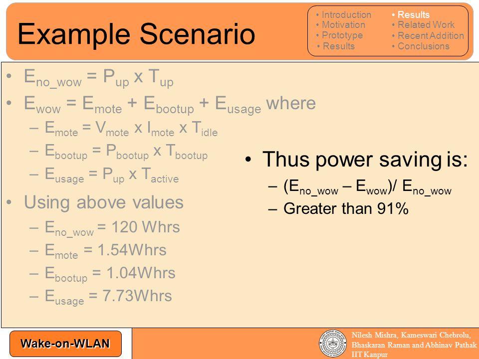 Example Scenario Thus power saving is: Eno_wow = Pup x Tup